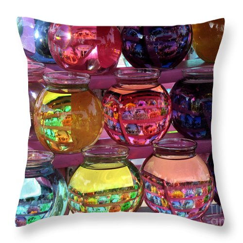 Bowls Throw Pillow featuring the photograph Colorful Fish Bowls by Donna Brown