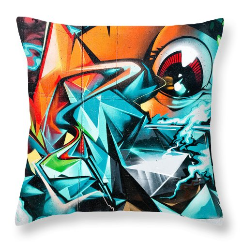 Abstract Throw Pillow featuring the painting Colorful Graffiti Fragment by Yurix Sardinelly