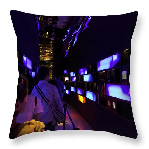 Asia Throw Pillow featuring the photograph Colorful Passage Inside The Singapore Flyer by Ashish Agarwal