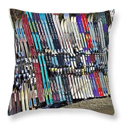 Sport Throw Pillow featuring the photograph Colorful Snow Skis by Susan Leggett