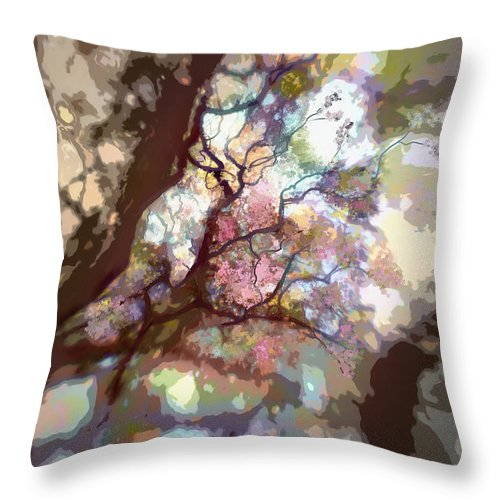 Tree Throw Pillow featuring the digital art Colorful Tree by Diane Dugas