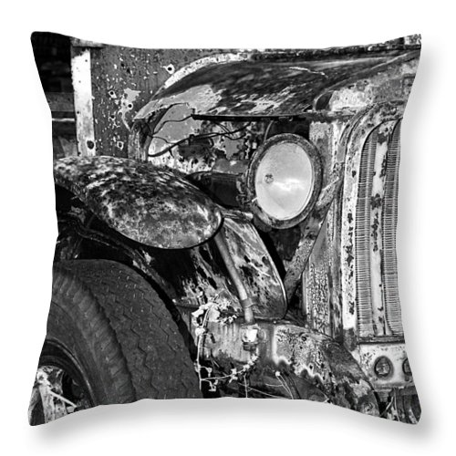 Car Throw Pillow featuring the photograph Colorful Vintage Car In Black And White by Phyllis Denton