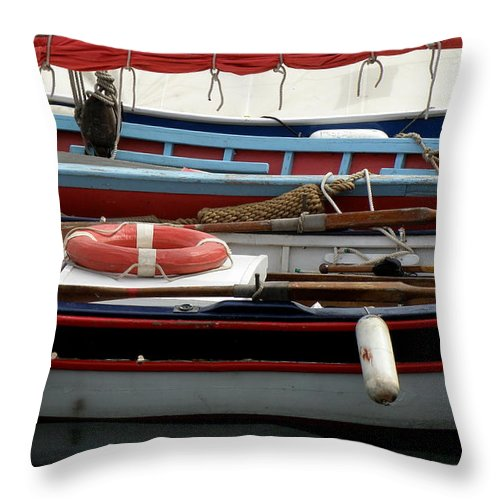 Boats Throw Pillow featuring the photograph Colorful Wooden Boats by Lainie Wrightson