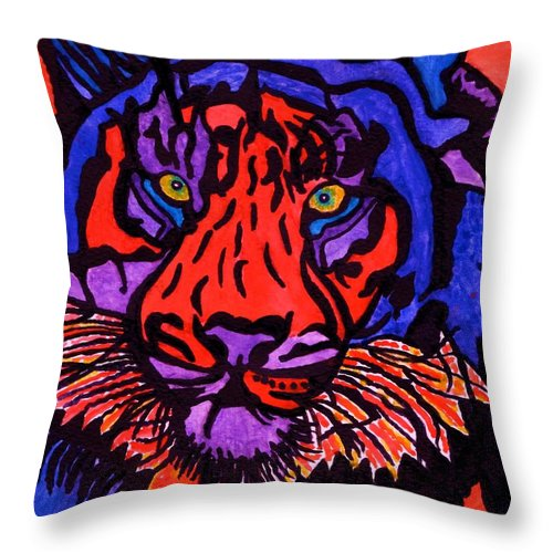 Colorful Tiger Throw Pillow featuring the painting Colorfull Tiger by Connie Valasco