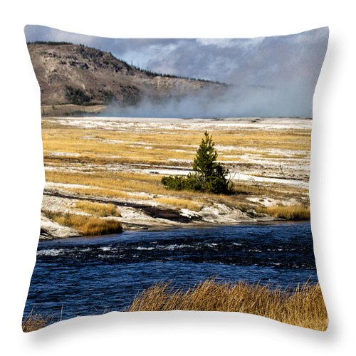 Yellowstone Throw Pillow featuring the photograph Colors by Carolyn Fox