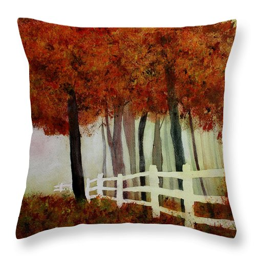 Trees Throw Pillow featuring the painting Colors of Autumn by Mary Gaines