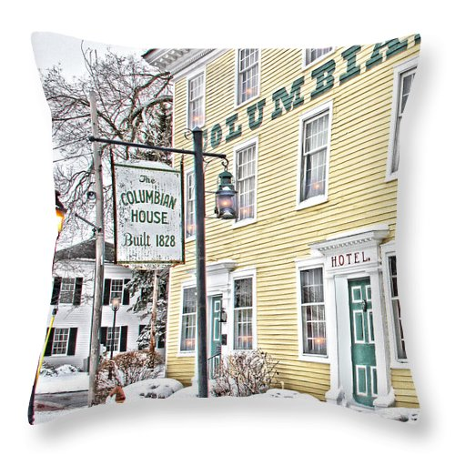 Columbian House Throw Pillow featuring the photograph Columbian House In Waterville Oh by Jack Schultz
