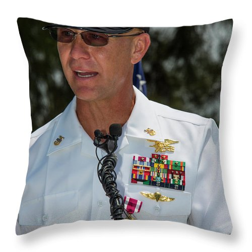 Military Throw Pillow featuring the photograph Command Master Chief Bryan Yarbro by Michael Wood