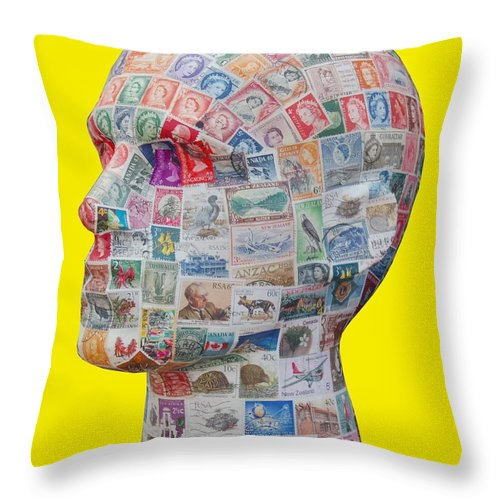 Queen Throw Pillow featuring the mixed media Commonwealth Head Of State by Gary Hogben