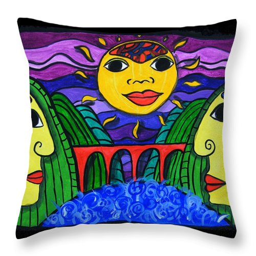 Communicate Throw Pillow featuring the painting Communicate by Mimulux patricia No