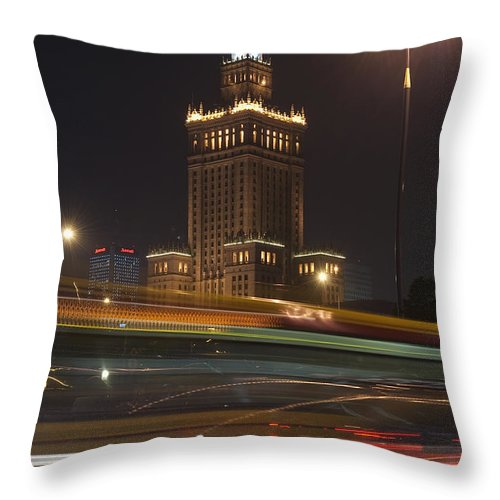 Poland! Polish Throw Pillow featuring the photograph Communist Era Built Palace Of Culture by Axiom Photographic