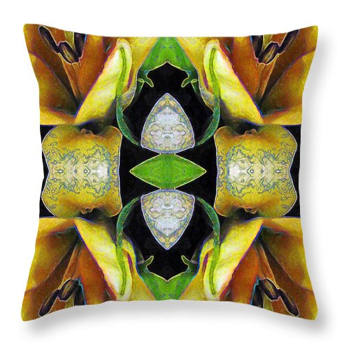 Tarot Throw Pillow featuring the painting Compassion - Card X From The Tarot Of Flowers by RC DeWinter