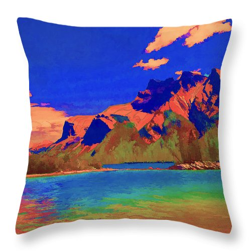 Mountains Throw Pillow featuring the digital art Complementary Mountains by Jo-Anne Gazo-McKim