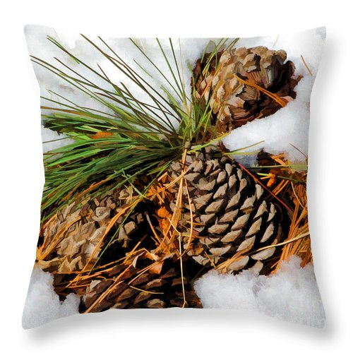 Pine Cone Throw Pillow featuring the digital art Cones In The Melt by L J Oakes