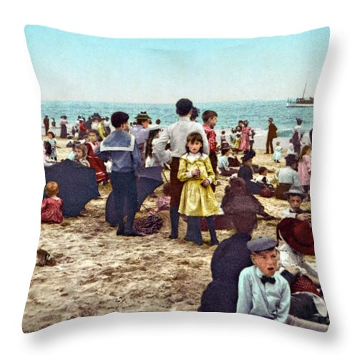 1902 Throw Pillow featuring the photograph Coney Island: Beach, C1902 by Granger