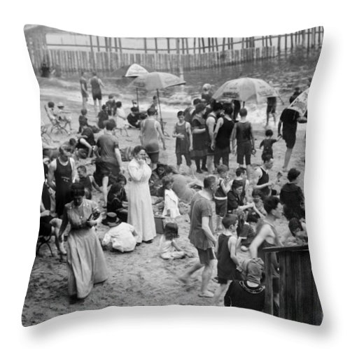 20th Century Throw Pillow featuring the photograph Coney Island: Beach by Granger