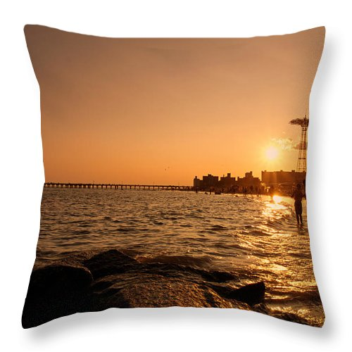 Sunset Throw Pillow featuring the photograph Coney Island Beach Sunset - New York City by Vivienne Gucwa