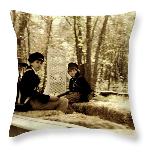 Kid; Kids; Hayride; Hay; Sepia; Confederate; Soldiers; Soldier; Acting; Old Time; Old Photograph; Vintage; Independence Throw Pillow featuring the photograph Confederate Kids by Diego Re