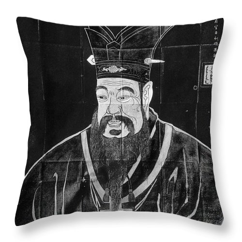 5th Century B.c Throw Pillow featuring the drawing Confucius by Granger
