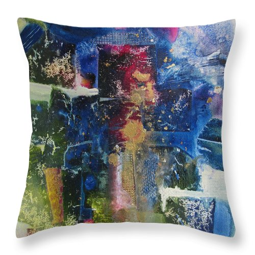 Abstract Throw Pillow featuring the painting Connections by Marilyn Woods