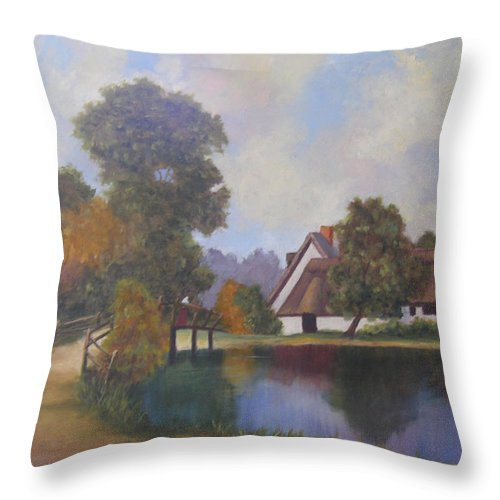 Landscape Throw Pillow featuring the painting Constable Country by Mark Perry