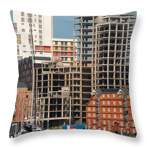 British Throw Pillow featuring the photograph Construction In Progress by Andrew Michael