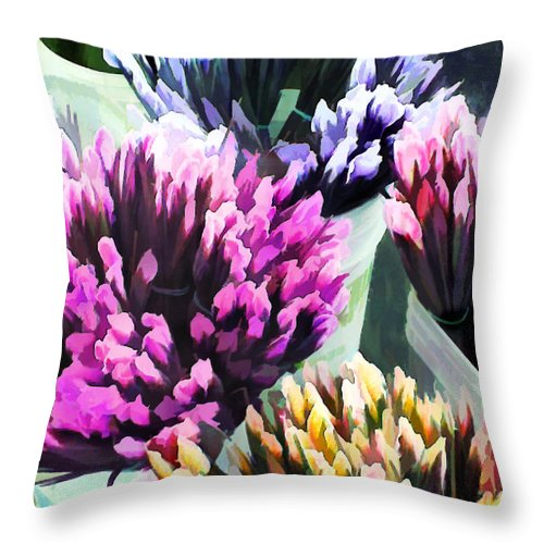 Flower Flowers Garden Iris Bucket Farmer's+market Flora Floral Nature Natural Throw Pillow featuring the painting Containers Of Mixed Iris At The Farmer's Market by Elaine Plesser