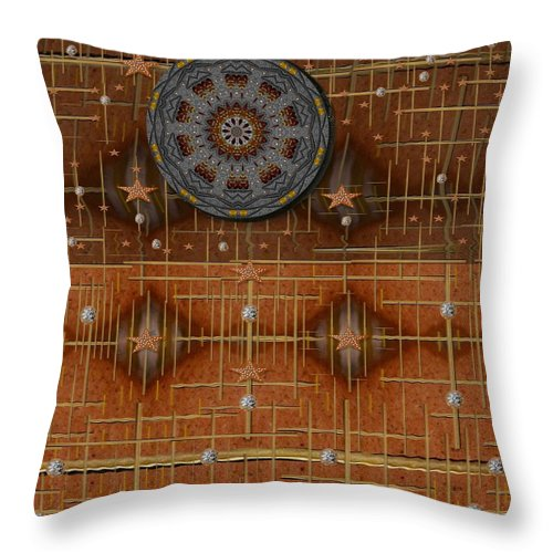 Landscape Throw Pillow featuring the mixed media Cookie Landscape In The Calm Wind by Pepita Selles