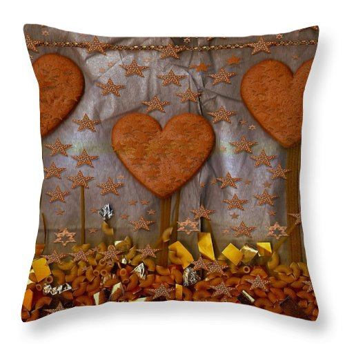 Cookie Throw Pillow featuring the mixed media Cookie Trees by Pepita Selles