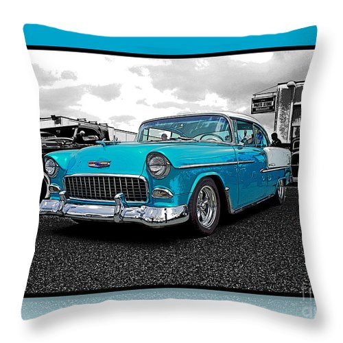 Cars Throw Pillow featuring the photograph Cool Blue Chevy by Randy Harris