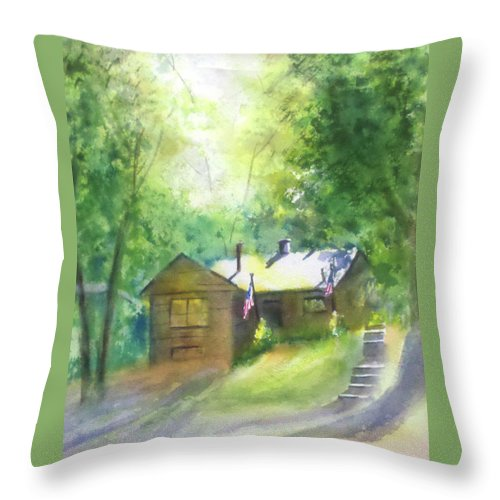 Colorado Cabin Throw Pillow featuring the painting Cool Colorado Cabin by Debbie Lewis
