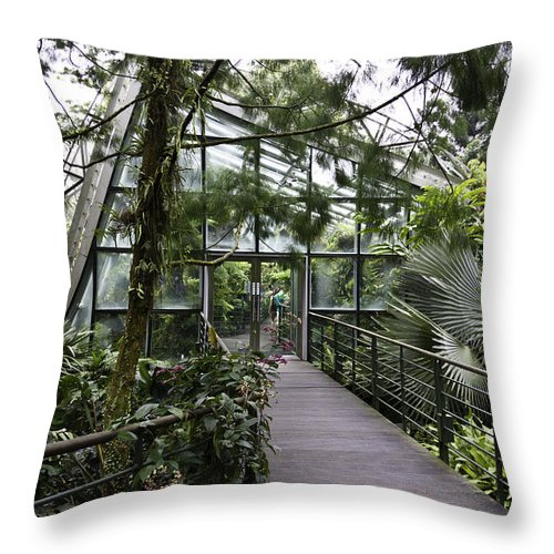 Asia Throw Pillow featuring the photograph Cool House Inside The National Orchid Garden In Singapore by Ashish Agarwal