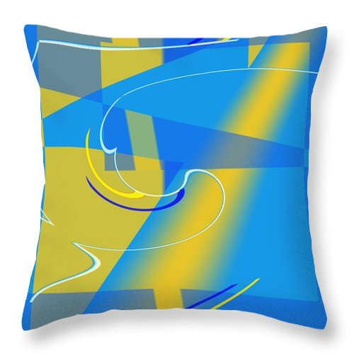 Cool Throw Pillow featuring the digital art Coolbluelines by Helmut Rottler