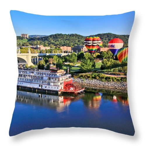 Coolidge Park Throw Pillow featuring the photograph Coolidge Park During River Rocks by Tom and Pat Cory