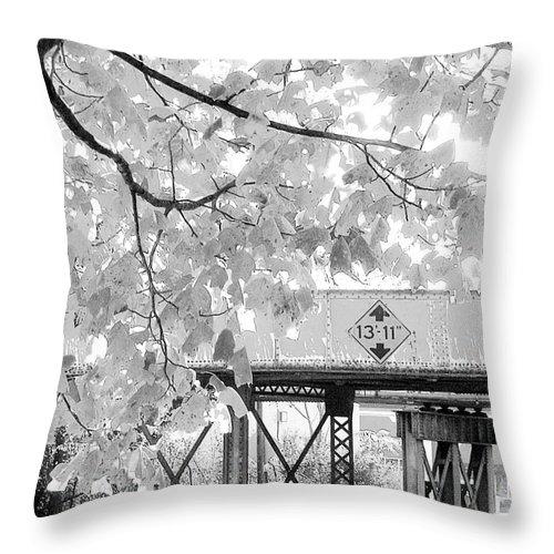 Railroad Throw Pillow featuring the photograph Cooper Street Railroad Trestle by Lizi Beard-Ward