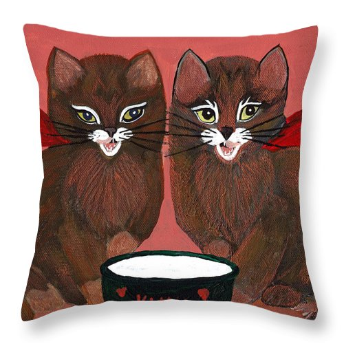 Animals Throw Pillow featuring the painting Copper Kitty by LeeAnn McLaneGoetz McLaneGoetzStudioLLCcom