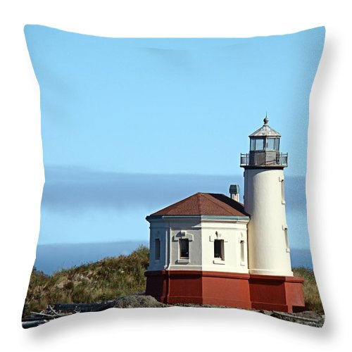 Coast Throw Pillow featuring the photograph Coquille River Lighthouse by Nick Kloepping
