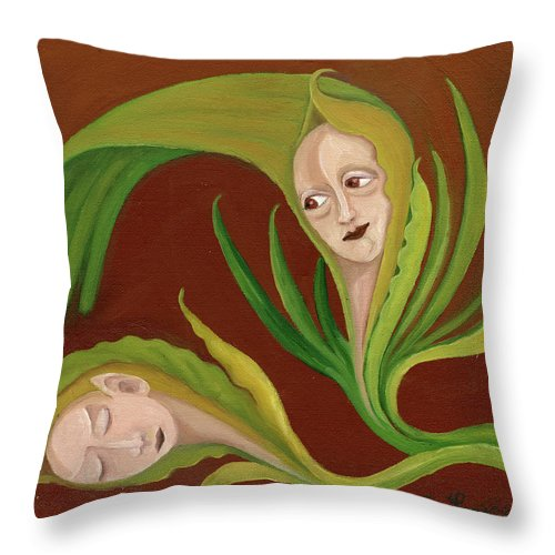 Corn Throw Pillow featuring the painting Corn Love Fantastic Realism Faces In Green Corn Leaves Sleeping Or Dead Loving Or Mourning Gree by Rachel Hershkovitz