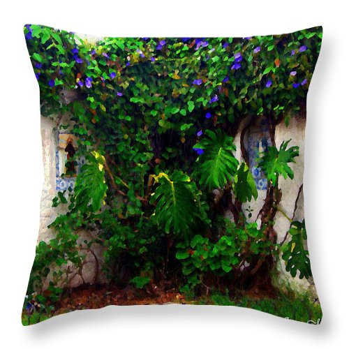 \barrio Historico\ Throw Pillow featuring the photograph Corner In Uruguay by Joan Minchak