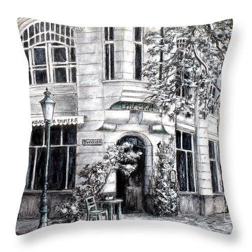 Architectural Drawings Throw Pillow featuring the painting Corner Tea by Danuta Bennett