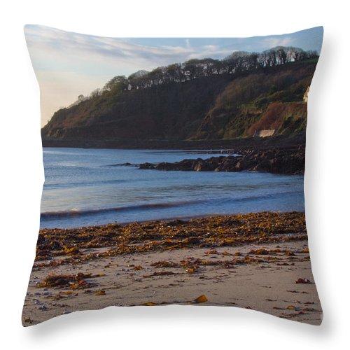 Cornish Seascape Throw Pillow featuring the photograph Cornish Seascape Meanporth by Brian Roscorla