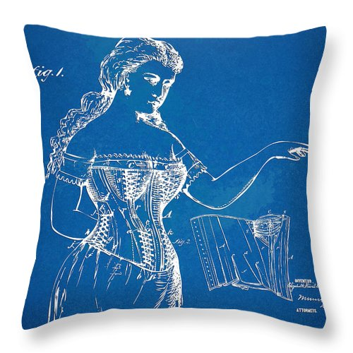 Corset Throw Pillow featuring the digital art Corset Patent Series 1877 by Nikki Marie Smith