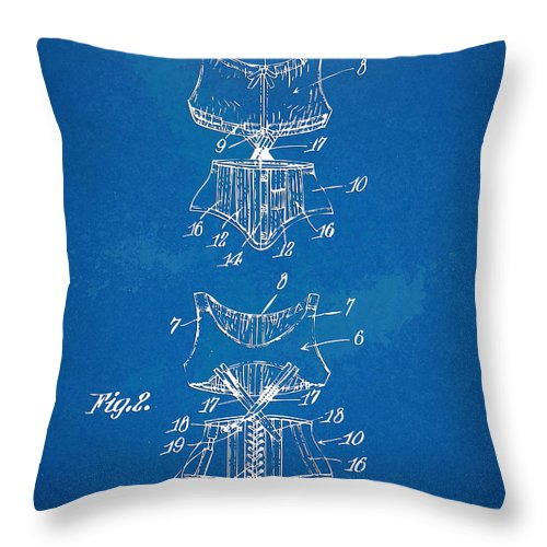 Corset Throw Pillow featuring the digital art Corset Patent Series 1907 by Nikki Marie Smith