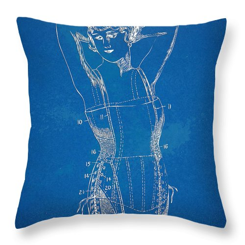 Corset Throw Pillow featuring the digital art Corset Patent Series 1924 Figure 1 by Nikki Marie Smith