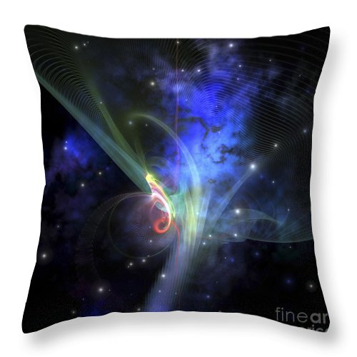 Stars Throw Pillow featuring the digital art Cosmic Strands Of Gaseous Filament by Corey Ford