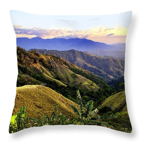 Costa Rica Throw Pillow featuring the photograph Costa Rica Rolling Hills 1 by Madeline Ellis