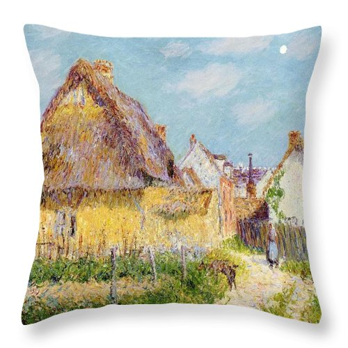Cottage At Le Vaudreuil Throw Pillow featuring the painting Cottage At Le Vaudreuil by Gustave Loiseau
