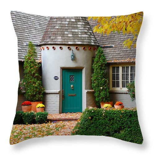 Cottage Home Park Bidwell Chico Ca Idyllic Charming Fall Colors Throw Pillow featuring the photograph Cottage In The Park by Holly Blunkall