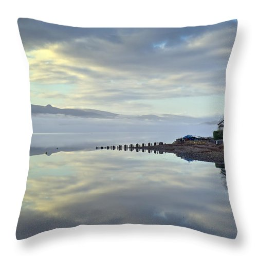 Argyll And Bute Throw Pillow featuring the photograph Cottage On The Shore by Gary Eason