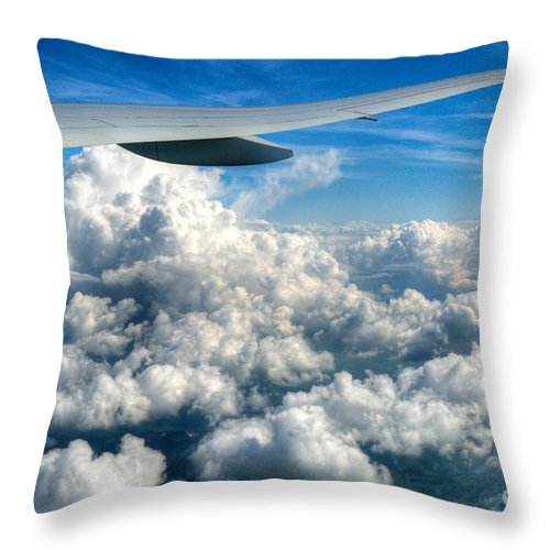 Clouds Throw Pillow featuring the photograph Cotton Balls by Syed Aqueel